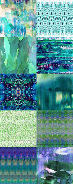 Amy Sia artwork from top left: waterlily, ikat jade, carribean, splatter rainforest, water dream, deluge, snowflower spring green, watercolour tribal gren, tribal diamonds watercolour blue, brush