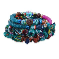 Multi Color Austrian Crystal, Multi Color Glass Bracelet (7.5 in) TGW 0.002 cts.