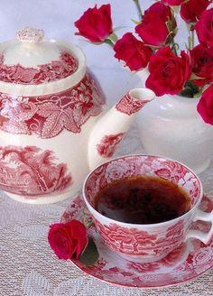 tea - red transfer ware