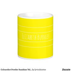Colourshot Powder Sunshine Yellow with your name Basic White Mug.  Don't loose your mug or coaster at the office, put your name on it! This simple, stylish mug with its elegant, thin, white stripes can be personalized with your name in a stylish script, and there is a matching coaster.