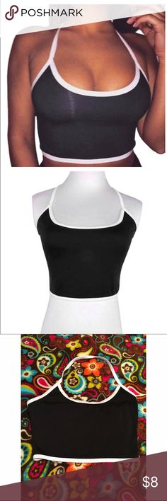 Black Halter Crop Top Never worn, it was too big for me. Extremely soft, in excellent condition. Sz Small. Feel free to make an offer 💘 Tops Crop Tops