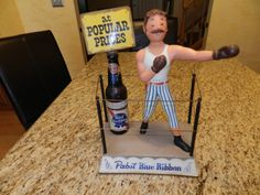 RARE Pabst Blue Ribbon Beer Boxer Display Statue Collectible Iron Metal Sign | eBay Vintage Beer Signs, Old Beer Cans, Pabst Blue Ribbon, Antique Show, Vintage Photographs, Metal Signs, Over The Years, Vodka Bottle, Boxer