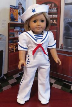 Sailor Pant Suit made to fit AG Kit.   by Keepersdollyduds