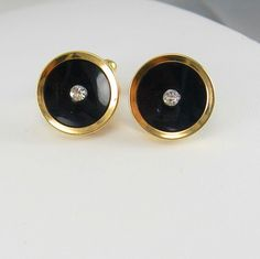 Vintage Faux Diamond Cufflinks Black Onyx by NeatstuffAntiques, $45.00