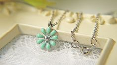 Light Blue Daisy Flower Charm Silver Necklace. Dainty. Feminine