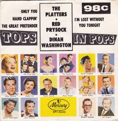"""Tops In Pops / Platters / Red Pryscock / Dinah Washington / 7"""" Vinyl 45 RPM Record & Picture Sleeve"""