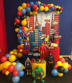 Superman Birthday Party, Disney Cars Birthday, Avengers Birthday, Batman Party, Birthday Table, Superhero Party, Boy Birthday Parties, Birthday Party Decorations, Party Entertainment