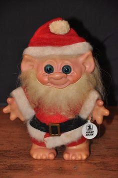 """Vintage SANTA CLAUS TROLL BANK, Swivel Head, 7"""" TALL with Bank Promotion Tag"""