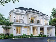 Menik Private House Design - Jatibening, Bekasi- Quality house design of architectural services, experienced professional Bali Villa Tropical designs from Emporio Architect. Classic House Exterior, Classic House Design, Bungalow House Design, Dream House Exterior, Modern House Design, Villa Design, Floor Design, Village House Design, Kerala House Design