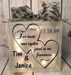 home decor lighted glass block two hearts by JaniceGiftsandDesign