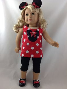 American Girl Doll Capri Pants, Top, Minnie Ears Mickey Mouse Minnie Mouse Polka Dot Disneyland Disney World 18 in with FREE Hanger      Can also