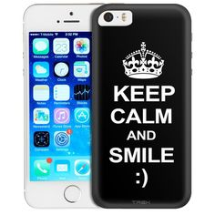 Apple iPhone SE KEEP CALM and Smile on Black Trans Case
