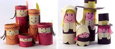 Pilgrims and Native Americans from toilet paper tubes. - American Story 1 - these are so cute!!