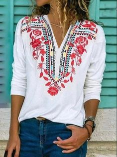Floral Vintage, Blouse Vintage, Retro Vintage, Blouses For Women, T Shirts For Women, Ladies Shirts, Party Tops, Casual T Shirts, White Long Sleeve