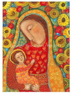 This print is of The Folk Art Madonna by Rose Walton, a painting of the infant Christ and his mother Mary.