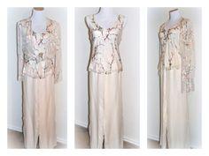 Vintage Bridal Pantsuit Wedding Palazzo Pant Suit by EventOutlet