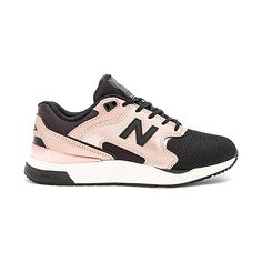 New Balance New Classics Sneaker ($100) ❤ liked on Polyvore featuring shoes, sneakers, new balance trainers, leather lace up sneakers, new balance footwear, metallic leather shoes and lacing sneakers