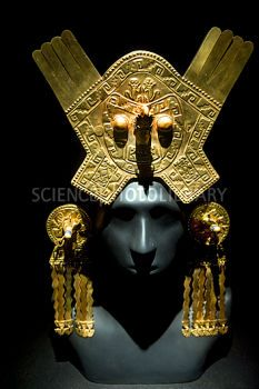 ancient peruvian gold ornaments and jewelry | Gold headdress, Chimu Imperial - Stock Image C010/9507 - Science Photo ...