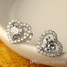 Top Vente Plaqué Argent 925 Swarovski Zirconia Cz Boucles D'oreilles En Cristal De Diamant Or Cadeaux Femmes Livraison