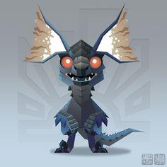 "Tzitzi-Ya-Ku from Monster Hunter - - the ""Dizzy Bird Wyvern"" - Art done by Kevan Hom Monster Hunter Games, Monster Hunter World, Monster Design, Monster Art, Cute Fantasy Creatures, Mythical Creatures, Dragon Mythology, Mystical Animals, Dragon Artwork"