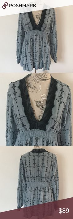 """Johnny Was Blue Boho Top L Excellent condition. Beautiful Top. Long so may could wear as top or dress with spandex. Front under arm side to side 19.5"""". Length 30""""elastic around waist and sleeve. 100% rayon. Johnny Was Tops"""