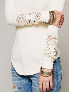 Love the top! add lace or doilies to sleaves - more → http://carolonlinefashion.blogspot.com/2013/04/love-top-add-lace-or-doilies-to-sleaves.html
