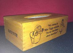 Mrs Tiggy-winkle style tissue box with woodburning design.