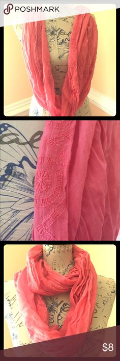 Aerie fashion scarf Pink Aerie by American Eagle fashion scarf. Embroidered design around entire scarf. Excellent condition aerie Accessories Scarves & Wraps
