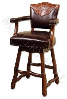 1 Custom made bar stool decorated by tooled leather on backrest covered by supple