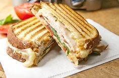 Smoked Turkey, Pepper Jack Cheese, and Basil Panini.I love my Panini Grill! Note: possibly add pesto Grill Sandwich, Deli Sandwiches, Panini Grill, Salami Sandwich, Turkey Sandwiches, Soup And Sandwich, Vegetarian Sandwiches, Vegetarian Food, Panini Press