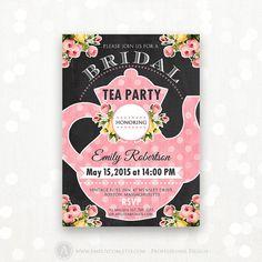 Printable Bridal TEA Party, Bridal SHOWER Invitation, Bridal BRUNCH Chalkboard Invite Shower the Bride Editable Retro Pink Instant Download
