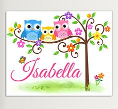Personalized Nursery Owl Wall Art Decor   by LoveDecorStudio, $7.99
