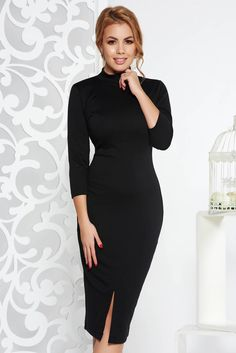 StarShinerS black dress pencil casual with tented cut, tented cut, 3/4 sleeves, slightly elastic fabric, pontiroma, flexible jersey with middle thickness