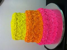 Rosette Cake. LOVE THIS for bridal shower to go with my Rainbow roses