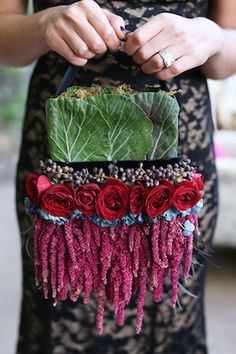 Flower purse   Seen Photography   see more on: http://burnettsboards.com/2015/05/bold-floral-inspired-wedding-editorial/