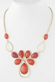 Gold Tone Coral Color Crystal Bib Necklace for Women: Jewelry: Amazon.com