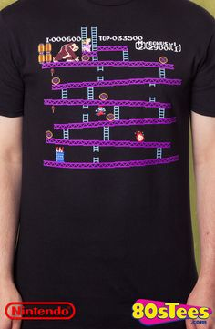 Level One Donkey Kong T-Shirt: Donkey Kong Mens T-Shirt Game Geeks: This popular video game is artfully illustrated and designed and a must have to your men's fashion collection.