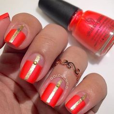 Turn up the heat with @goldnchyld's modern holiday mani using China Glaze 'Surfin For Boys'!