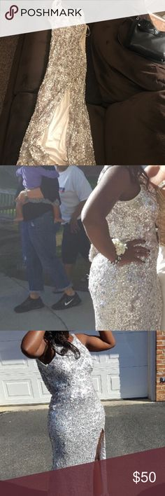 long silver dress, it can be worn for prom long, silver and light purple patten, it hangs low in the back (as you can see in the picture) it has a built in bra luxgal Dresses Prom