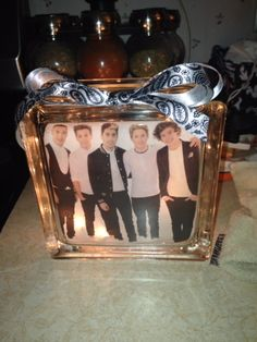 One Direction lighted glass block.  Check out my custom made lighted glass blocks at my Etsy store IrwinRags!https://www.etsy.com/shop/IrwinRags