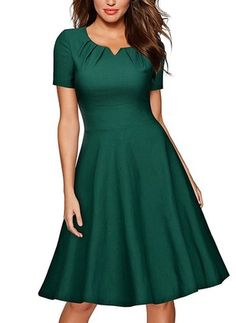 Commandez Summer Fashion Retro Style Women Short Sleeve O-neck Elegant Dress Cocktail Party Ball Gown Swing Pleated Dress sur Wish - Acheter en s'amusant A Line Cocktail Dress, Cocktail Dresses, Cocktail Outfit, Vetement Fashion, Swing Dress, Elegant Dresses, Green Dress, Flare Dress, Retro Fashion