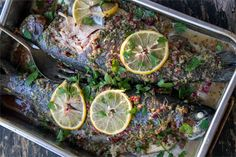 This whole baked trout recipe is very easy and fast. Trout is full of fatty acids, protein and minerals. The herb salsa makes a perfect marinade. Fish Dishes, Seafood Dishes, Fish And Seafood, Seafood Recipes, Paleo Recipes, Trout Recipes, Smoker Recipes, Baked Trout, Healthiest Seafood