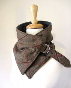 Buckle Scarf Neck Warmer in Brown Herringbone with Pink Stripes Upcylced Wool