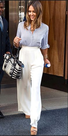 Jessica Abla - Wide Leg Pants, Button Down and Wedges. Love This