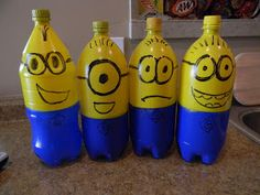 Make old 2 liter bottles into minion bowling pins, or fill them with water and use them as balloon weights for a party decoration.