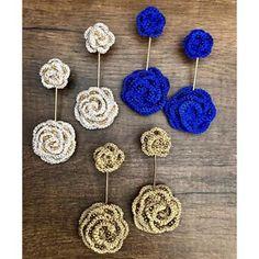 Crochet Jewelry Patterns, Crochet Earrings Pattern, Crochet Accessories, Wire Crochet, Crochet Motif, Crochet Flowers, Diy Jewelry Gifts, Handmade Beaded Jewelry, Diy Earrings Easy