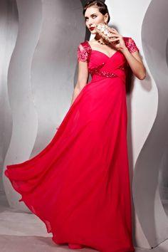 Robe de soirée rouge ornée de bijoux en mousseline de soie à encolure décolletée en coeur aux manches courtes. Cliquez pour l'acheter :  http://www.persun.fr/robe-de-soiree-rouge-ornee-de-bijoux-en-mousseline-de-soie-a-encolure-decolletee-en-coeur-aux-manches-courtes-decolletee-en-p-897.html