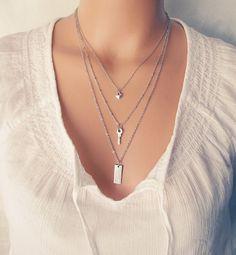 layering necklace set layered necklace small key por KriyaDesign