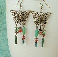 Boho Butterfly Earrings Turquoise Jewelry Bohemian by BohoStyleMe