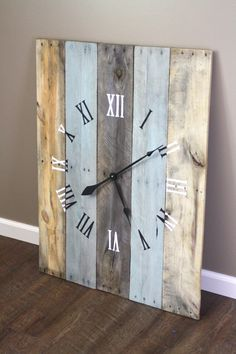 Large RECTANGULAR 36 by 26 Wall Clock. Rustic by terrafirma79